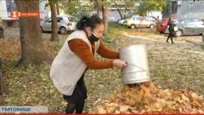 Възрастна жена почиства около блока и градинката на герба на Търговище
