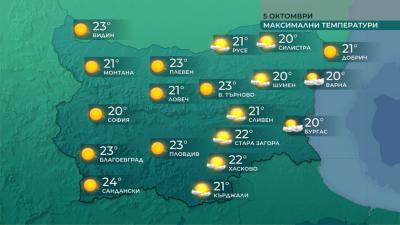 Максимални температури от 18° до 24° днес