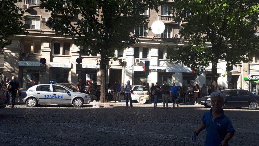 Protesters blocked traffic on Dondukov Blvd. in Sofia