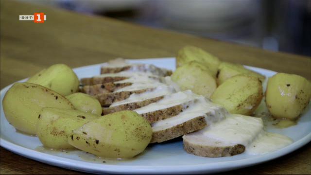 Студен борж с цвекло и свинско контрафиле с хрянов сос и картофи