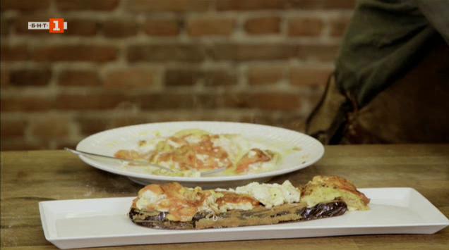 Шницели от патладжан с доматен омлет и рулца от патладжани с мус от сирене