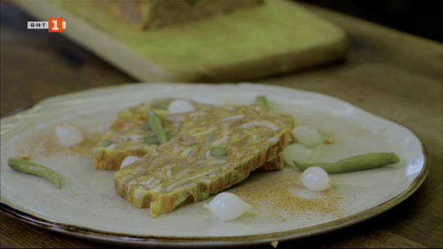 Терин от телешко шкембе и свински опашки, зелени палачинки със спанак и свежа плънка