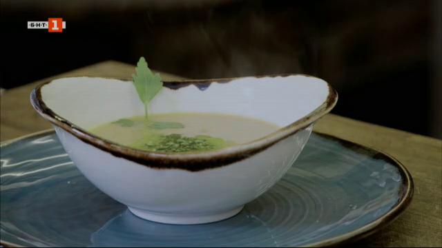 Крем супа от калкан с песто от девесил