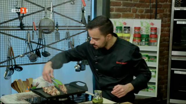 Свински шишчета с брюкселско зеле и пъстърва в сол със сос Беарнез