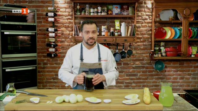 Френска лучена супа и пиле с тахан и табуле с просо