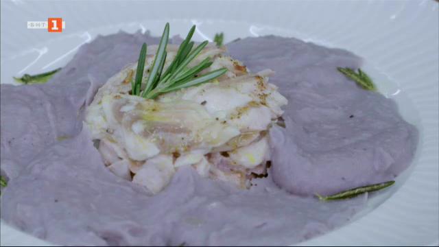 Калкан на фурна с пюре от лилави картофи