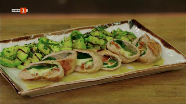 Руладини от свинско бон-филе с гриловани тиквички и брауни чийзкейк