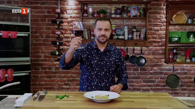 Бланширан ориз с гъби и доматен сос и стек от карфиол със сос Холандез