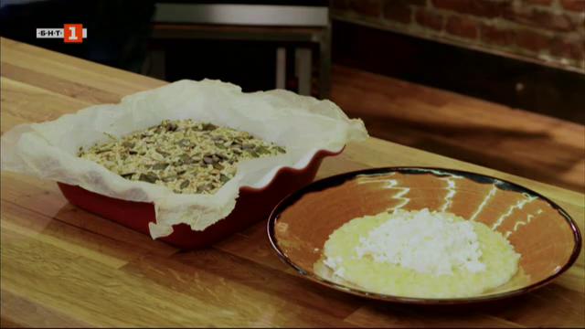 Овесен солен кекс, сладко-солени макарони и коблер с праскови