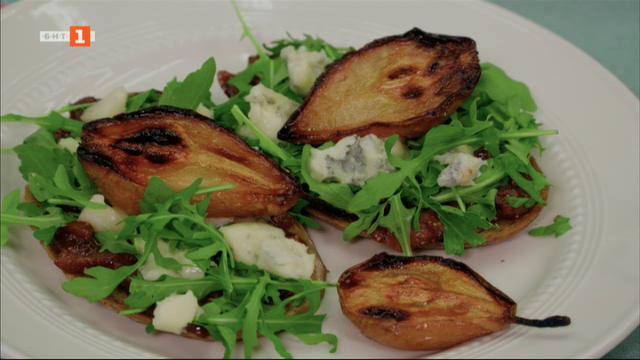 """Сандвич с печени круши и горгонзола и крем """"Дипломат"""" с гриловани смокини"""