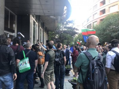 Protesters outside BNT continue to demand the resignation of Director General