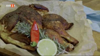 Пържено пиле с пикантна марината и сурови бонбони с бял шоколад и рози