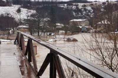 Overflowing Mesta river destroys the road between Hadzhidimovo and Blatska, Southwestern Bulgaria