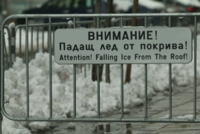 A woman was injured by falling icicle in the centre of Sofia