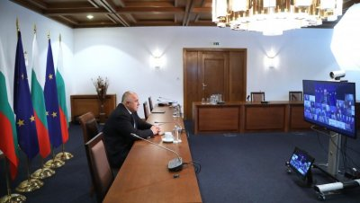 PM Borissov takes part in a videoconference meeting with the European leaders and Joe Biden