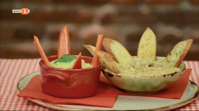 Разядка с нахут и авокадо, разядка с червена леща и брускети и салата с череши и козе сирене