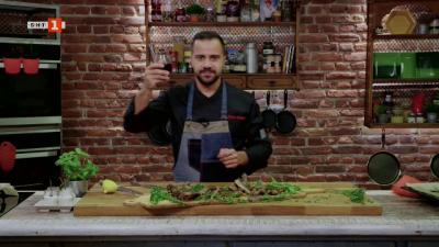 Българска бурата с домати и печени ребра с билково песто